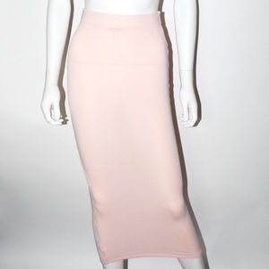 Sheer Baby Pink Maxi Fitted Skirt